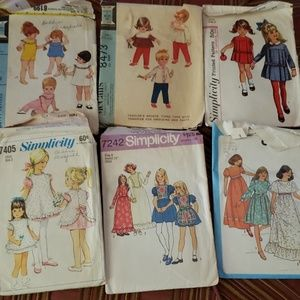 Lot of 6 Vintage Childrens sewing patterns